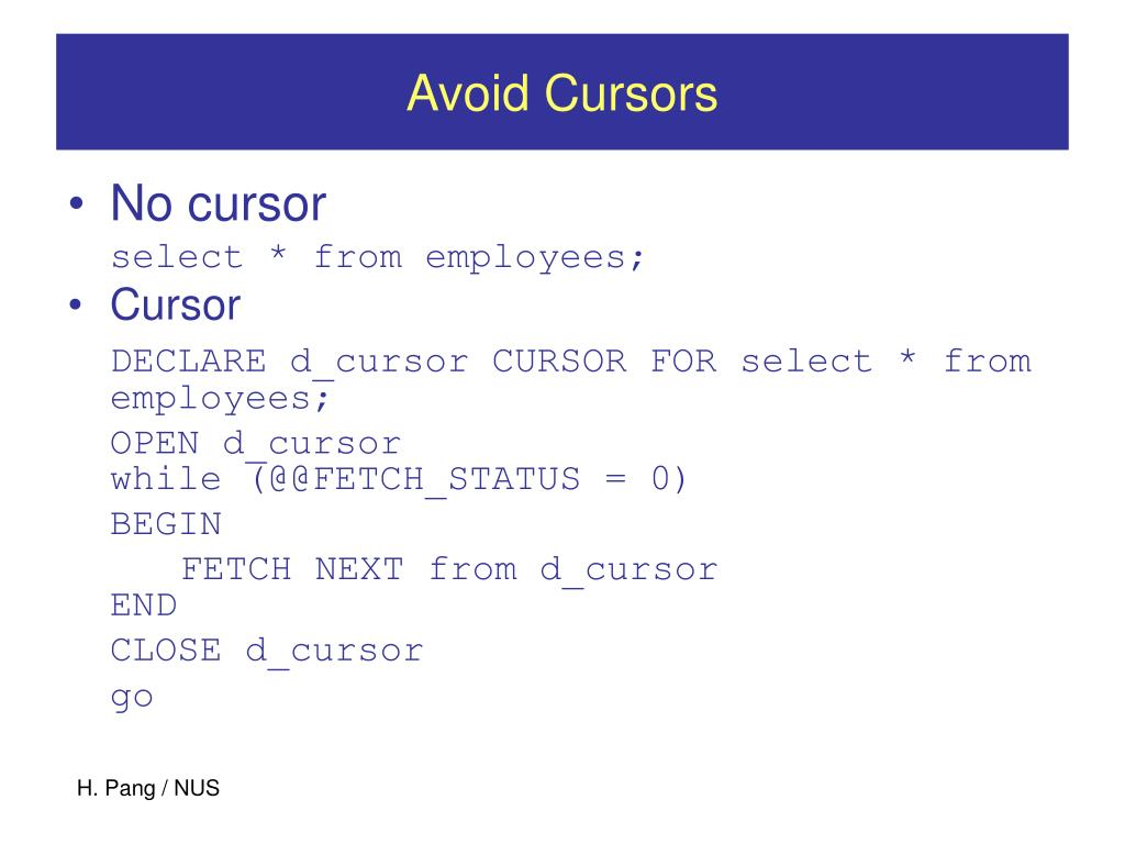 Avoid Cursors