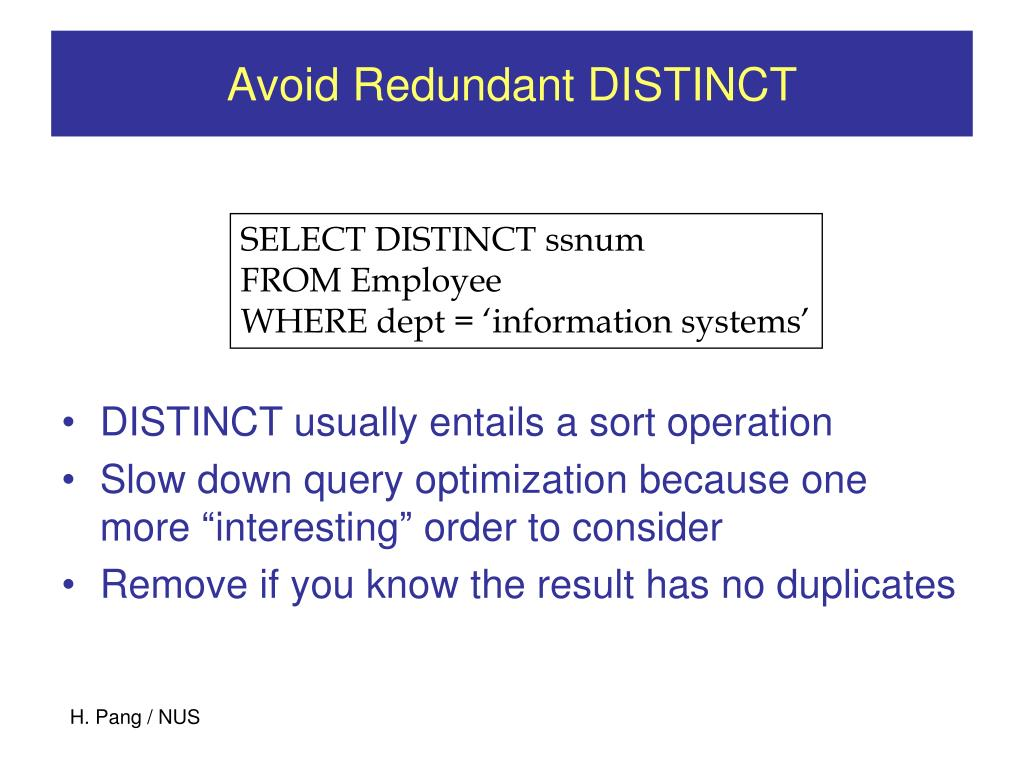 Avoid Redundant DISTINCT