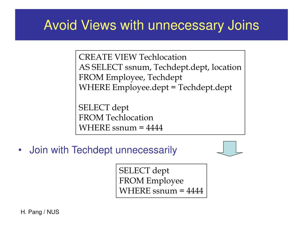 Avoid Views with unnecessary Joins