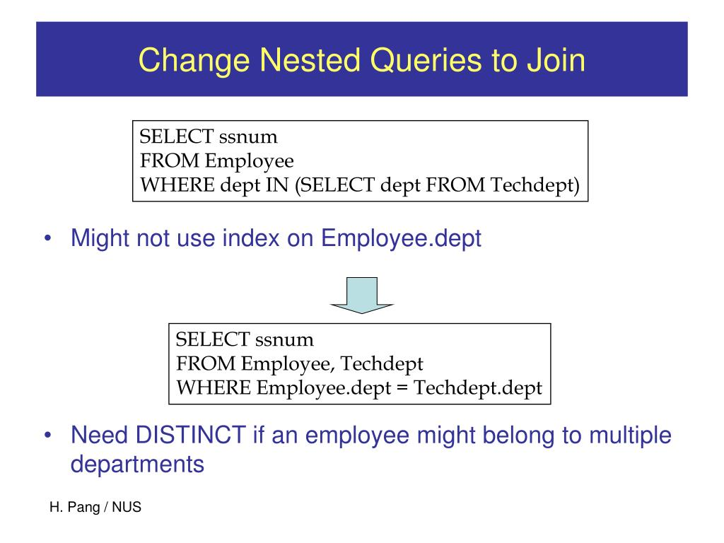 Change Nested Queries to Join