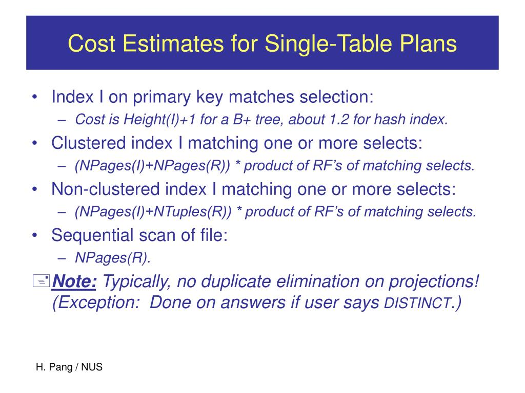 Cost Estimates for Single-Table Plans