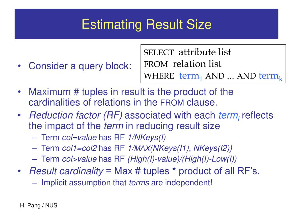 Estimating Result Size