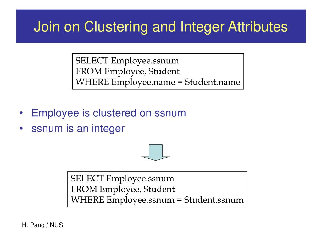 Join on Clustering and Integer Attributes