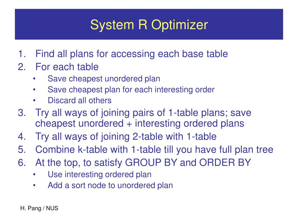 System R Optimizer