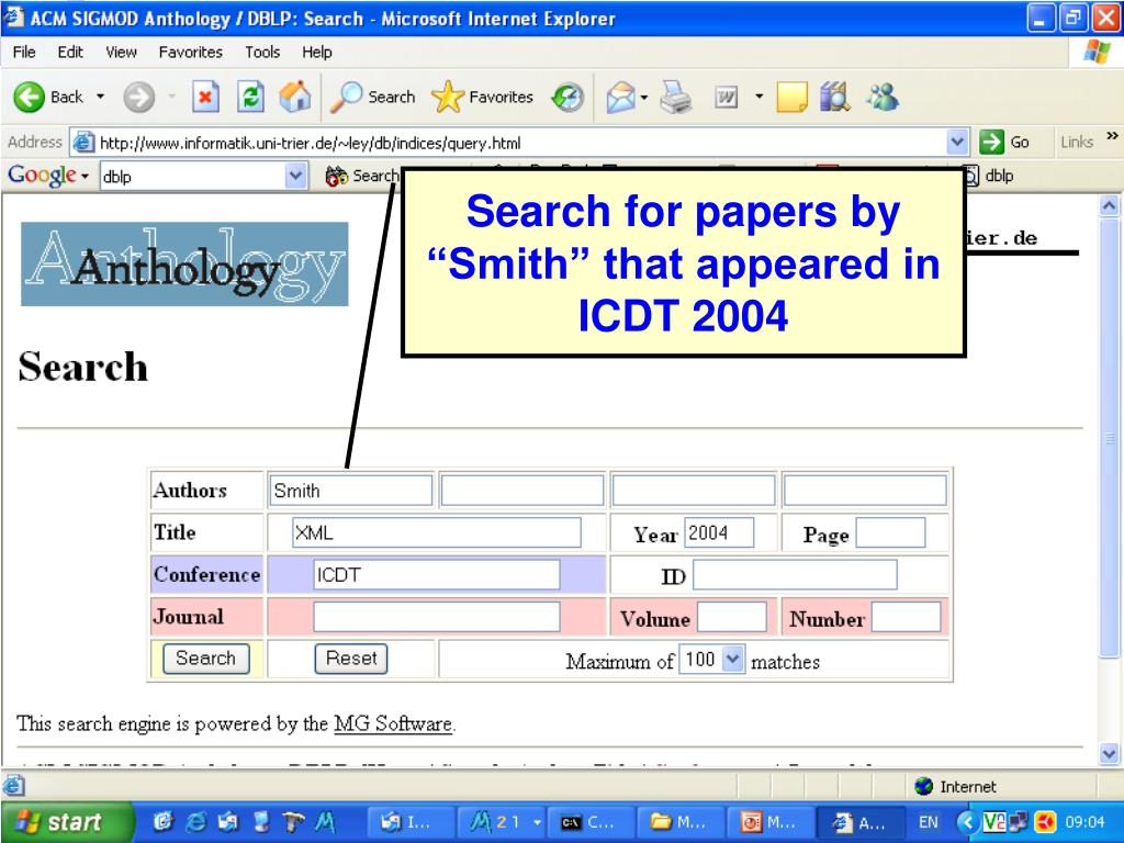 "Search for papers by ""Smith"" that appeared in ICDT 2004"