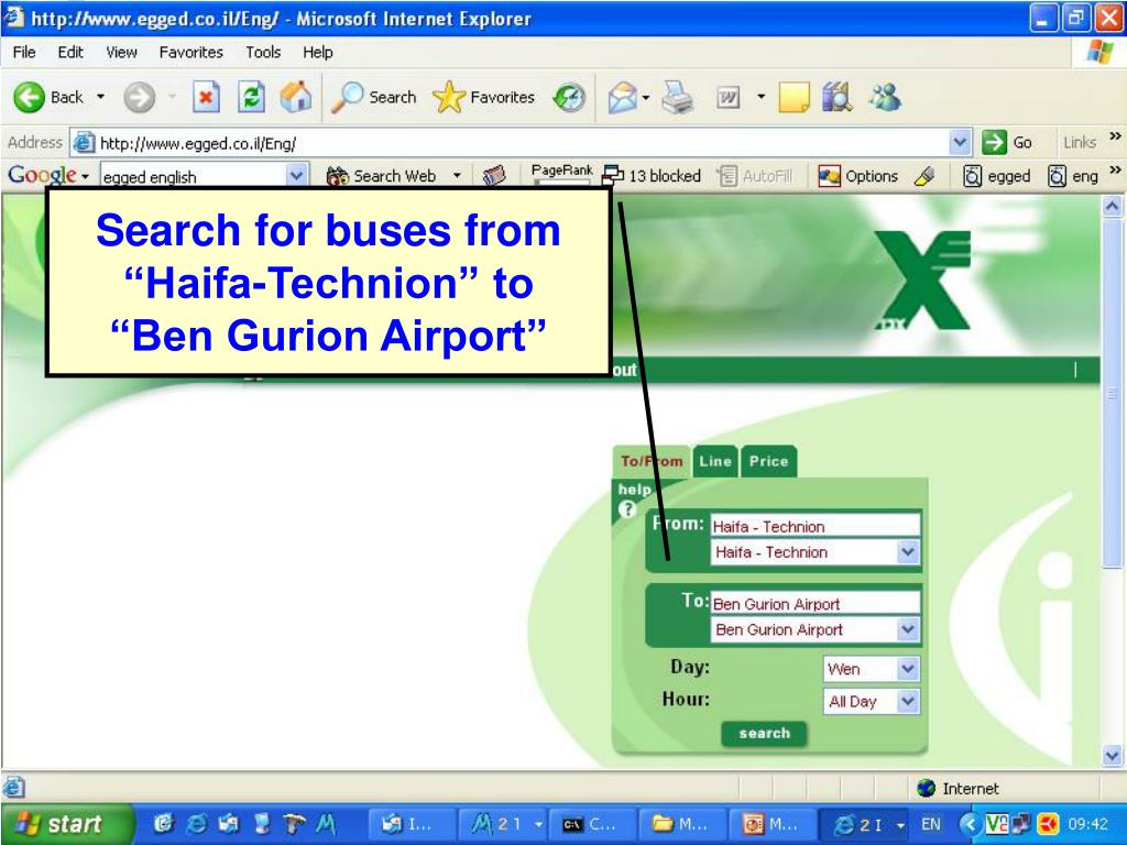 "Search for buses from ""Haifa-Technion"" to"