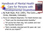 handbook of mental health care for persons with developmental disabilities