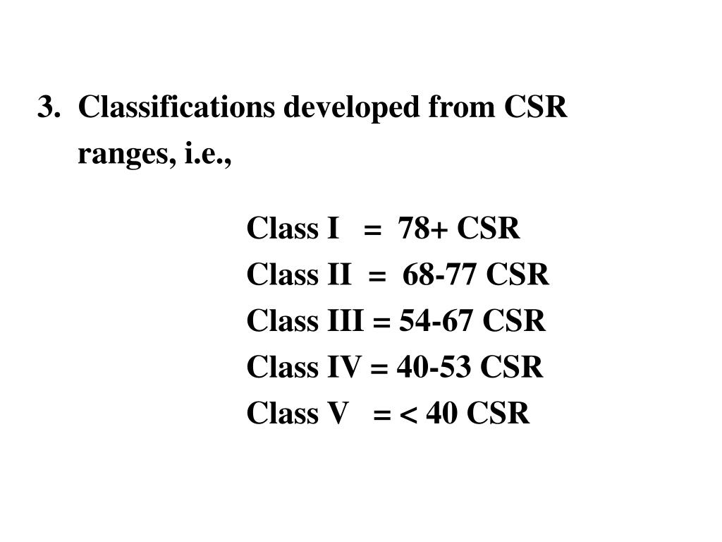 3.  Classifications developed from CSR