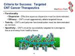 criteria for success targeted cnt cancer therapeutics