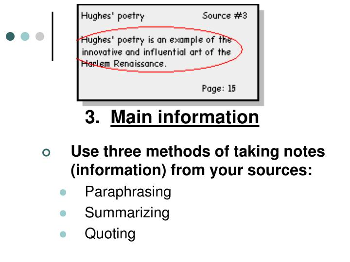 3 main information