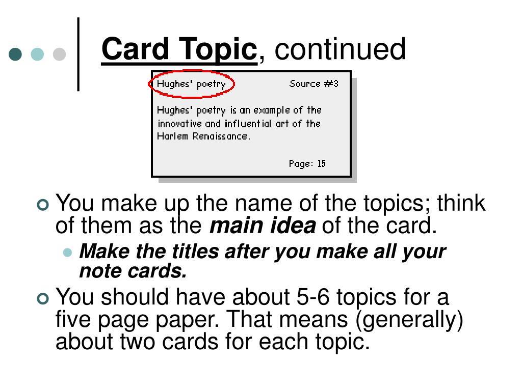 Card Topic