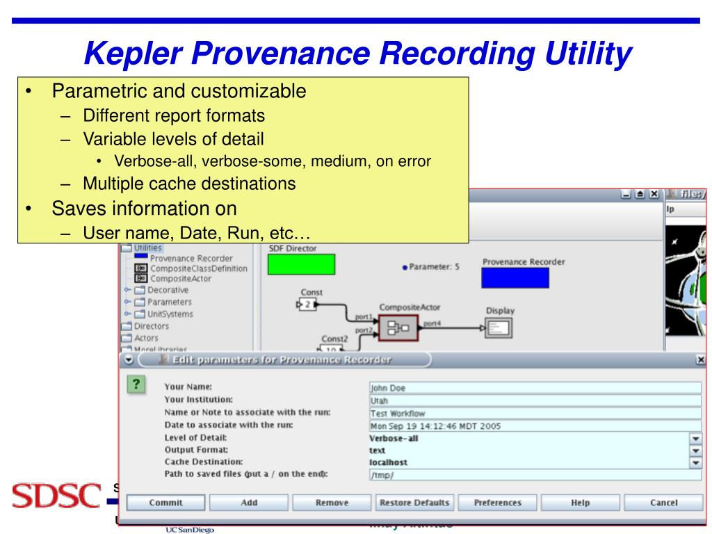 Kepler Provenance Recording Utility