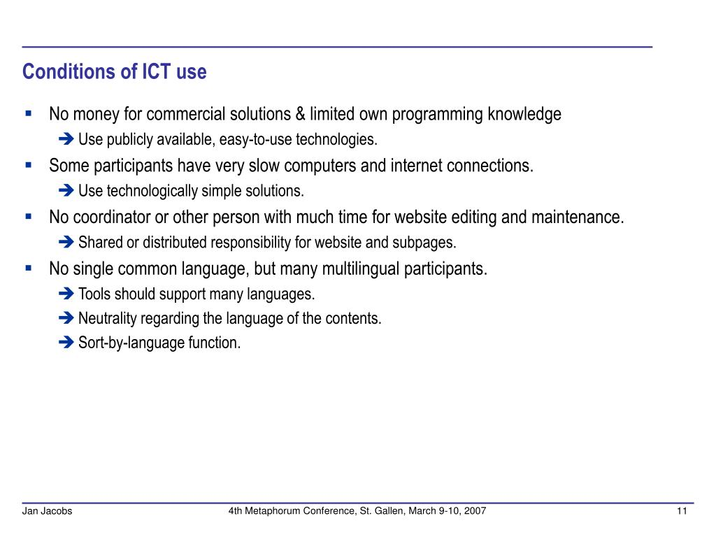 Conditions of ICT use