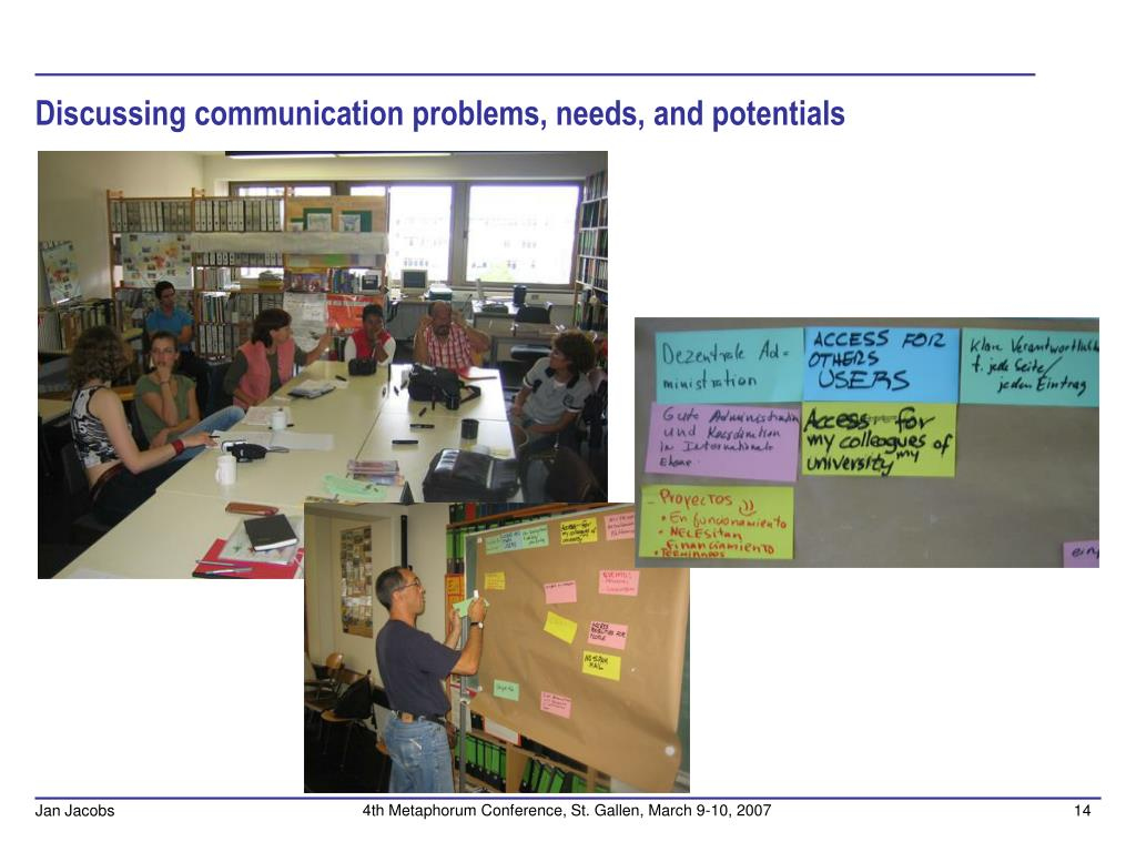 Discussing communication problems, needs, and potentials
