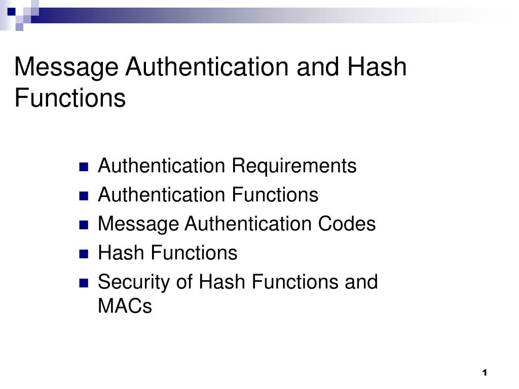 message authentication and hash functions l.