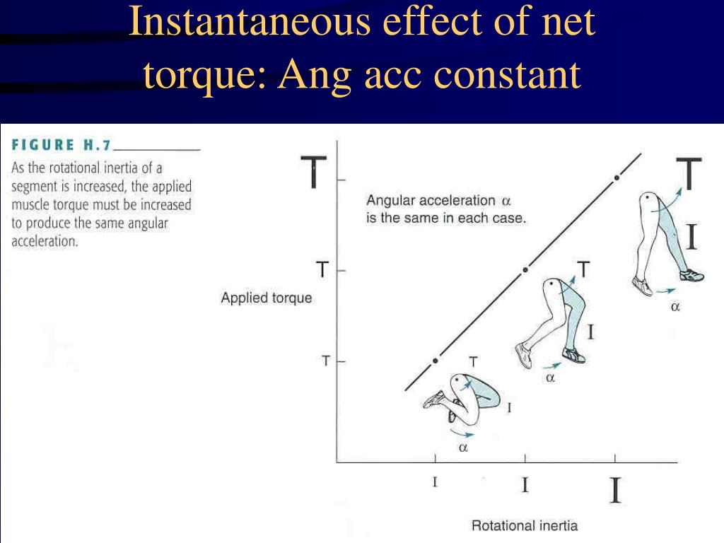 Instantaneous effect of net torque: Ang acc constant