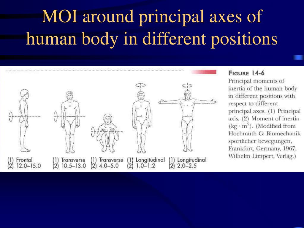 MOI around principal axes of human body in different positions
