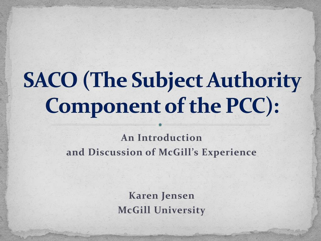 saco the subject authority component of the pcc l.