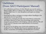 usefulness from saco participants manual