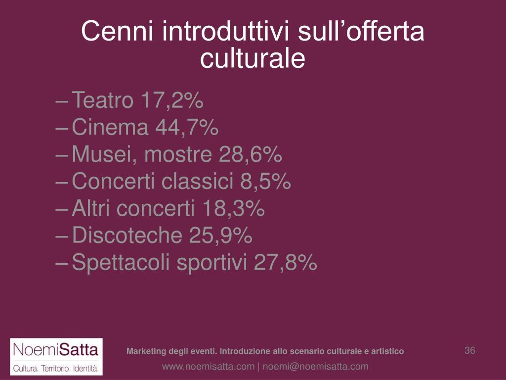 Cenni introduttivi sull'offerta culturale