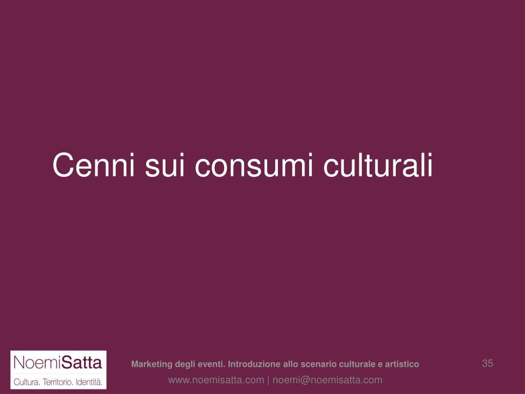 Cenni sui consumi culturali