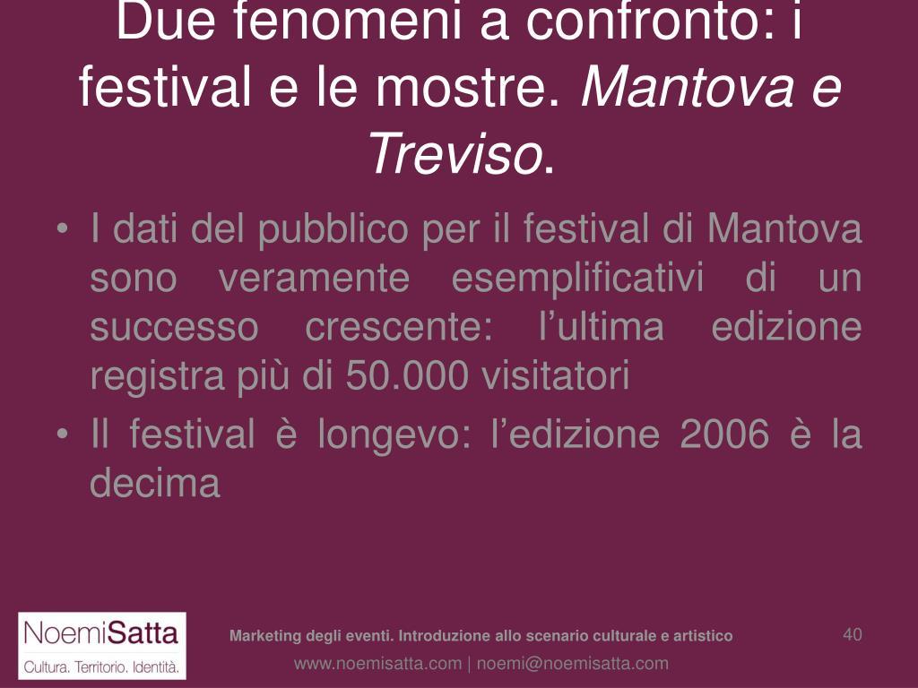 Due fenomeni a confronto: i festival e le mostre.