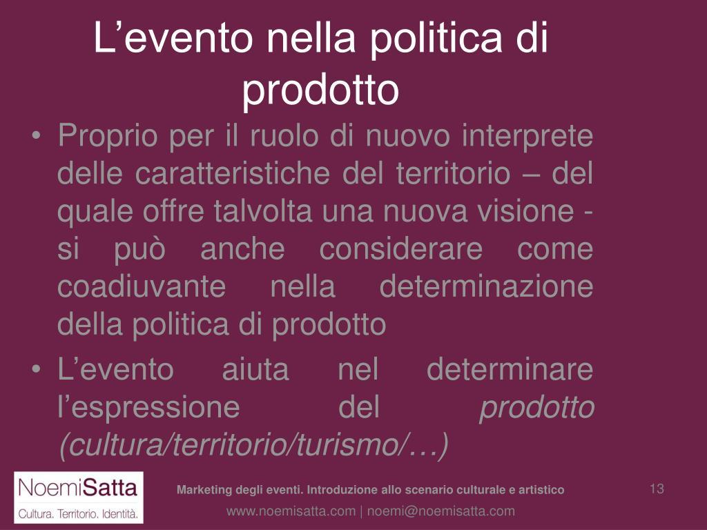 L'evento nella politica di prodotto