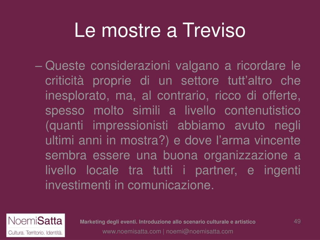 Le mostre a Treviso