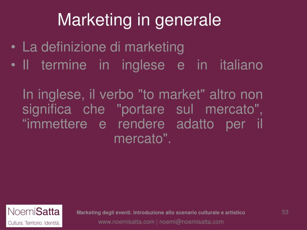 Marketing in generale