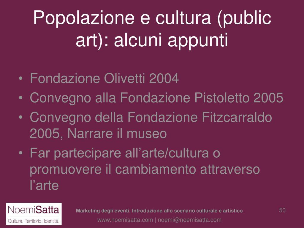 Popolazione e cultura (public art): alcuni appunti