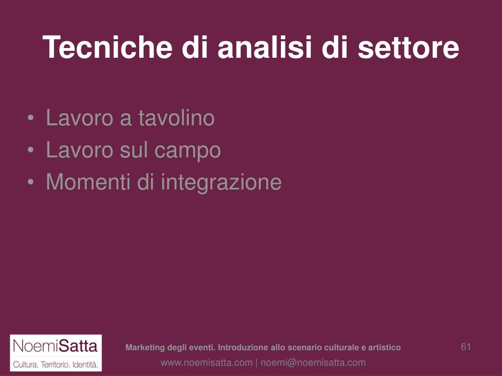 Tecniche di analisi di settore