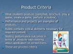 product criteria