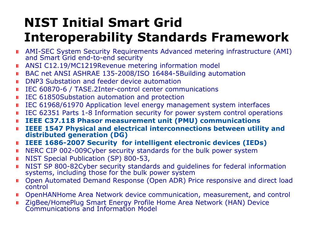 NIST Initial Smart Grid Interoperability Standards Framework