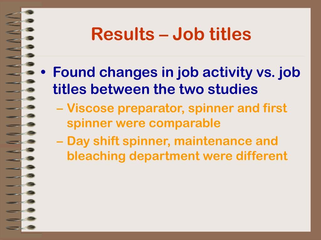Results – Job titles