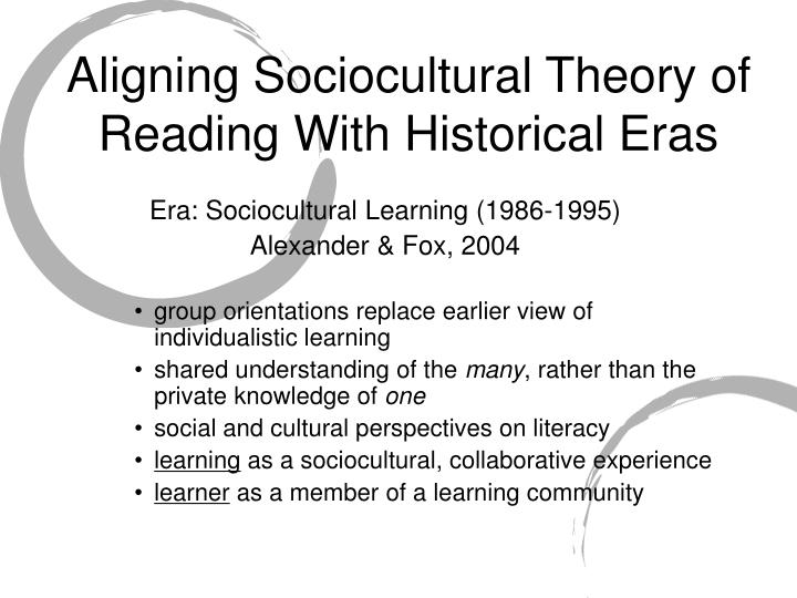 Aligning sociocultural theory of reading with historical eras