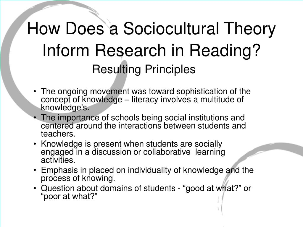 How Does a Sociocultural Theory Inform Research in Reading?