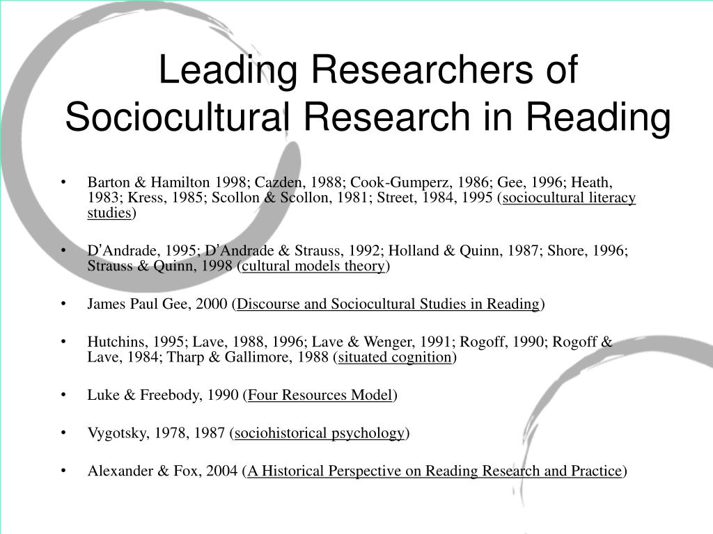 Leading Researchers of Sociocultural Research in Reading