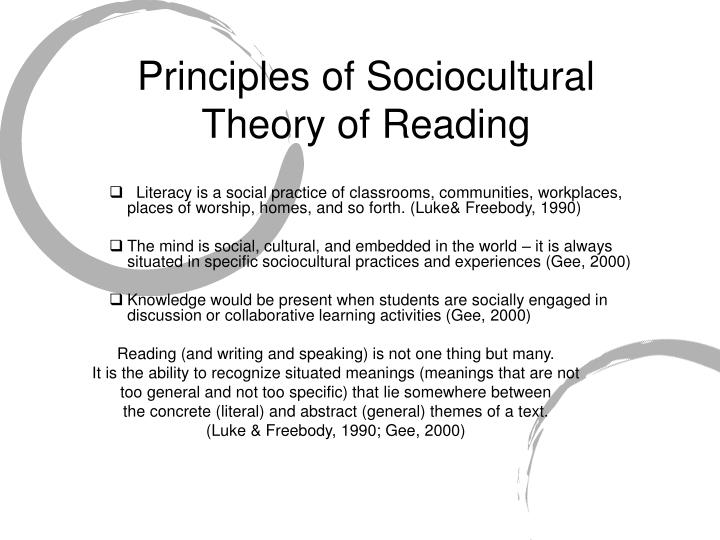 Principles of sociocultural theory of reading