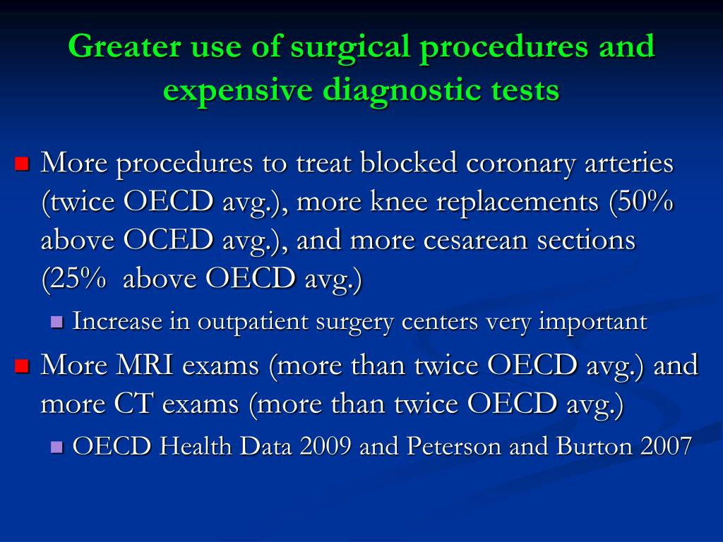 Greater use of surgical procedures and expensive diagnostic tests