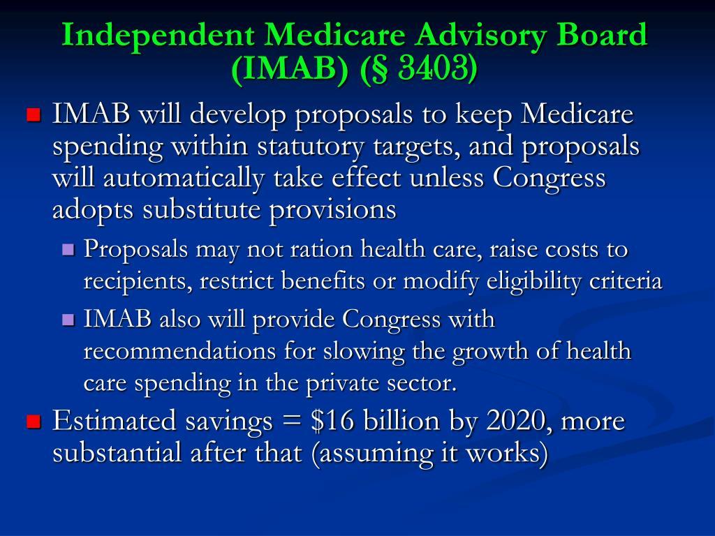 Independent Medicare Advisory Board (IMAB) (