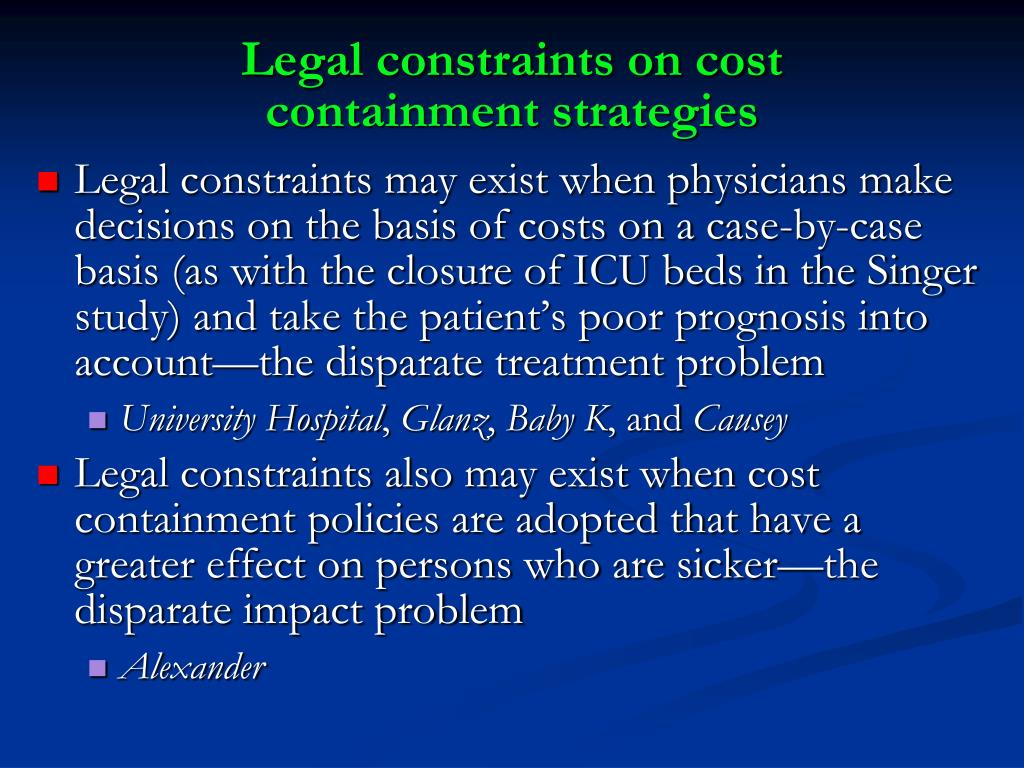 Legal constraints on cost