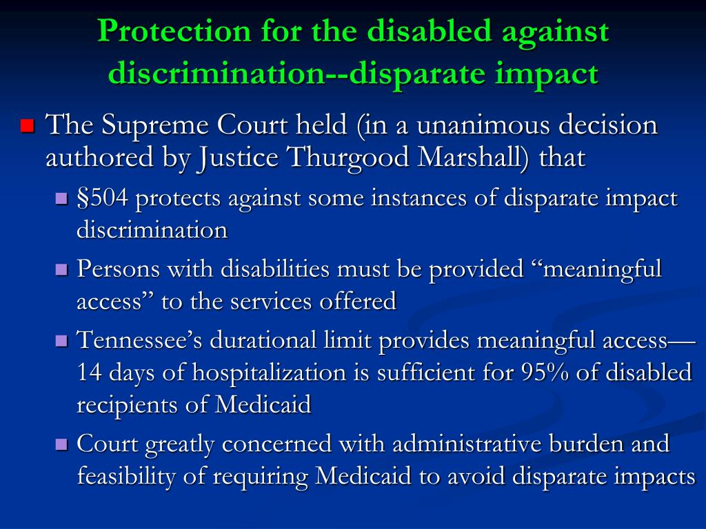Protection for the disabled against discrimination--disparate impact