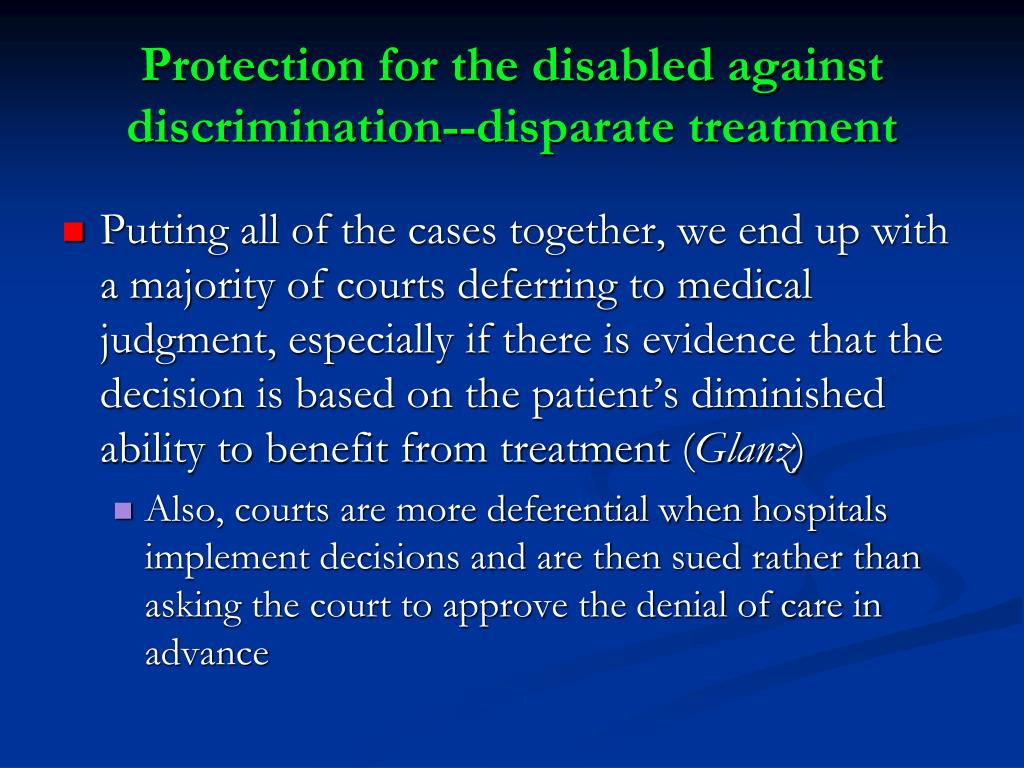 Protection for the disabled against discrimination--disparate treatment