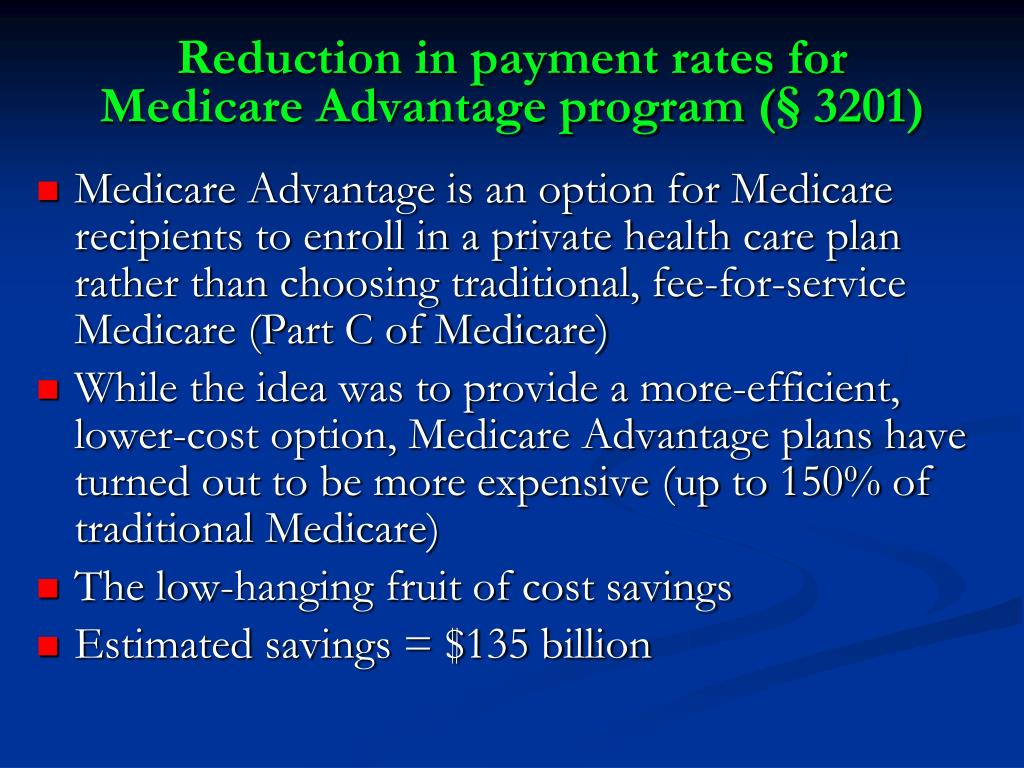 Reduction in payment rates for