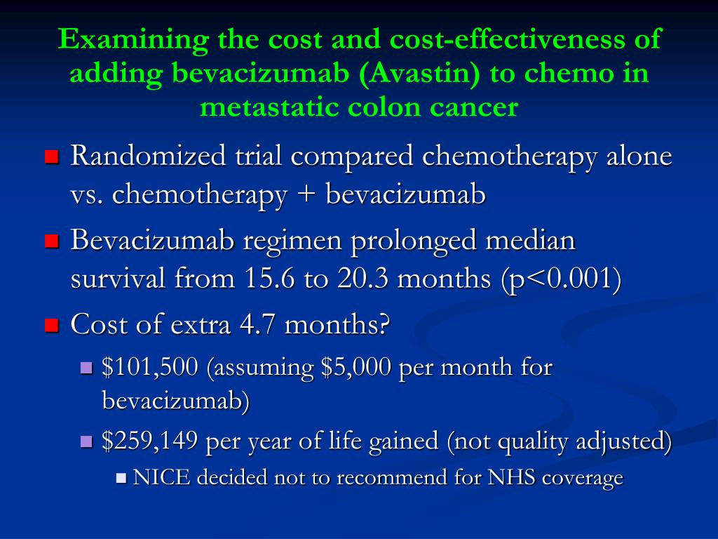 Examining the cost and cost-effectiveness of adding bevacizumab (Avastin) to chemo in metastatic colon cancer