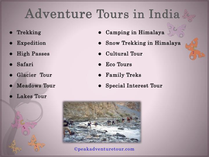 Adventure tours in india