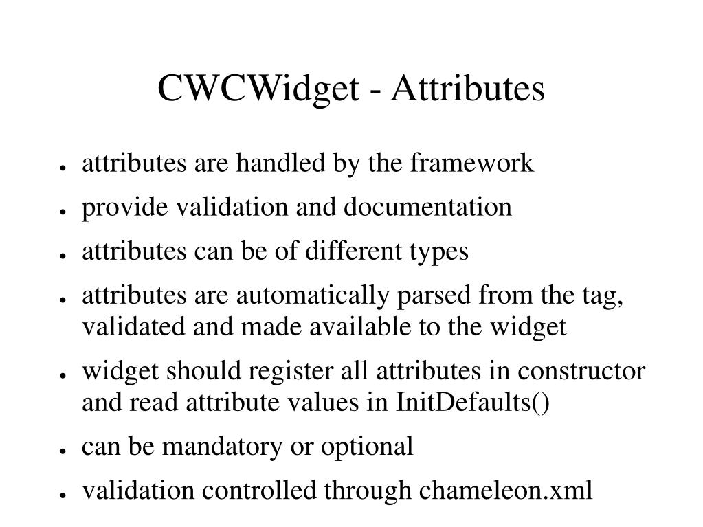 CWCWidget - Attributes