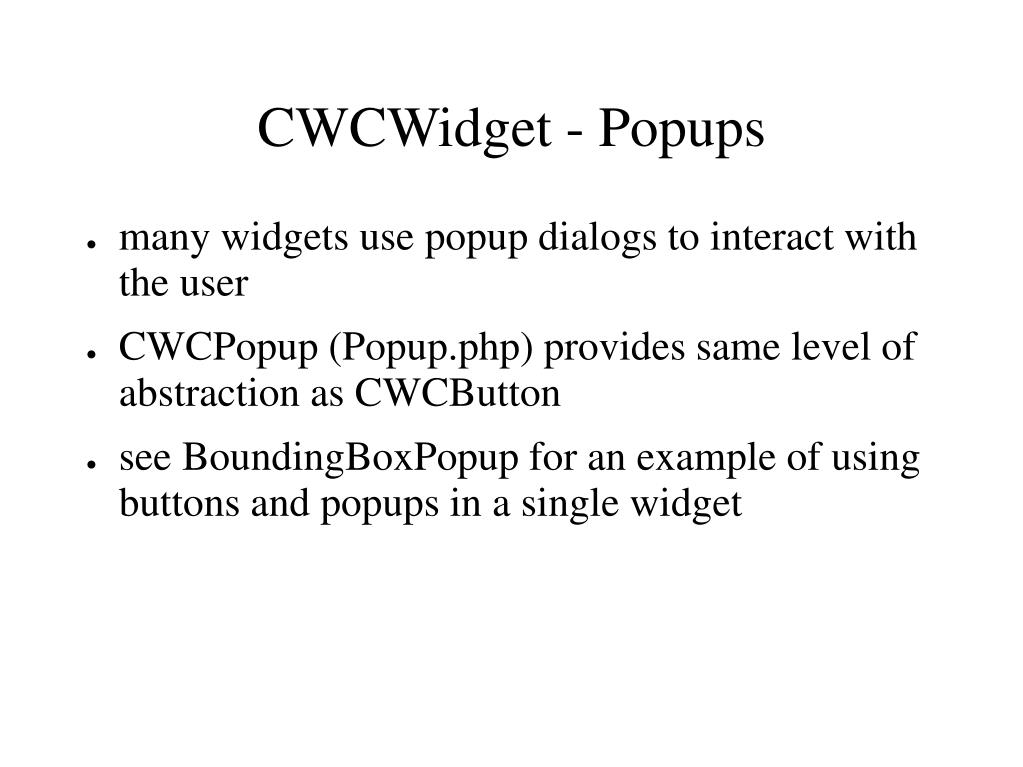 CWCWidget - Popups