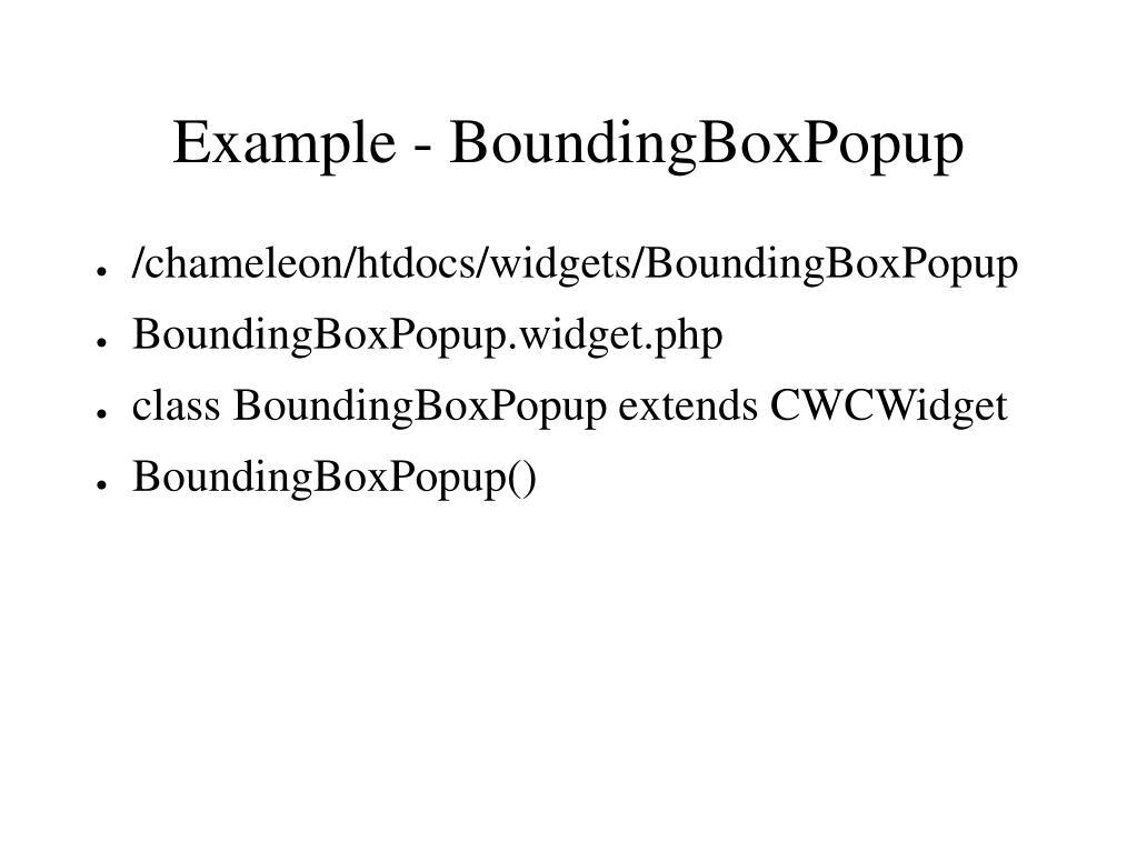 Example - BoundingBoxPopup