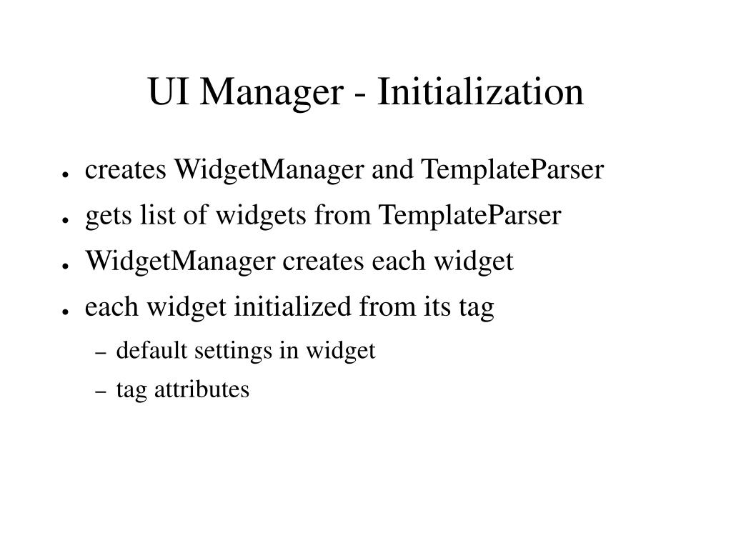 UI Manager - Initialization
